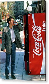 Man Drinking A Can Of Coke Acrylic Print by Marcelo Brodsky/science Photo Library