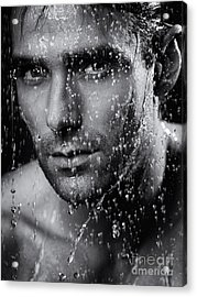 Man Face Wet From Water Running Down It Black And White Acrylic Print by Oleksiy Maksymenko