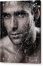 Man Face Wet From Water Running Down It Acrylic Print by Oleksiy Maksymenko
