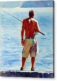 Man, Fishing Acrylic Print by Graham Berry