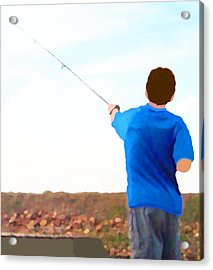 Man Fishing Acrylic Print by Marian Cates