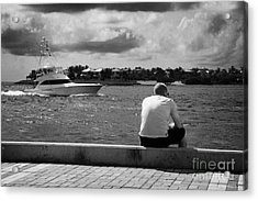 Man Fishing On Mallory Square Seafront Key West Florida Usa Acrylic Print by Joe Fox