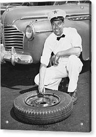 Man Fixing A Flat Tire Acrylic Print