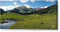 Man Fly-fishing In Slate River, Crested Acrylic Print by Panoramic Images