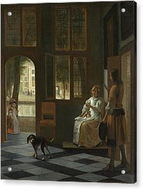 Man Handing A Letter To A Woman In The Entrance Hall Of A House Acrylic Print by Pieter de Hooch