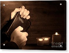 Man Hands And Bible Acrylic Print by Olivier Le Queinec