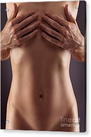 Man Hands Covering Nude Woman Breasts Acrylic Print by Oleksiy Maksymenko