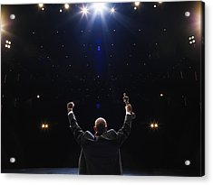 Man Holding Up Award Towards Audience, Rear View Acrylic Print by Thomas Barwick