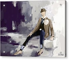 Man In A Fedora Fashion Illustration Art Print Acrylic Print by Beverly Brown