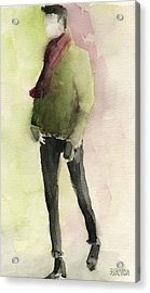 Man In A Green Jacket Fashion Illustration Art Print Acrylic Print by Beverly Brown