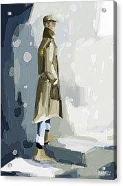 Man In A Trench Coat Fashion Illustration Art Print Acrylic Print