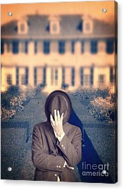 Man In Front Of Mansion  Acrylic Print by Edward Fielding