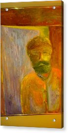 Acrylic Print featuring the painting Man In Front Of The Door by Richard Benson