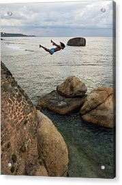 Man Jumping Off Flag Rock Bastion Acrylic Print by Panoramic Images