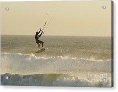 Man Kitesurfing On High Waves Acrylic Print by Sami Sarkis