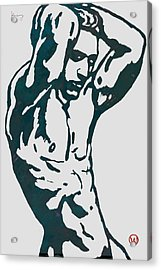 Man Nude Pop Stylised Etching Art Poster  Acrylic Print by Kim Wang