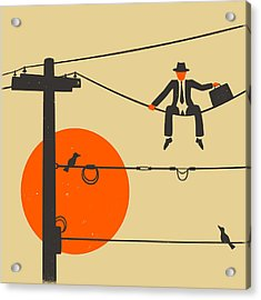 Man On A Wire Acrylic Print by Jazzberry Blue