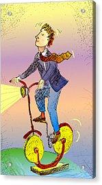 Man On Bike Made Of Coins Acrylic Print by Vasily Kafanov