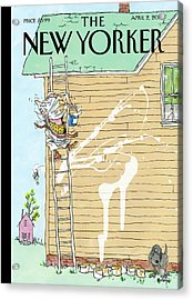 Man On Ladder Painting House Making A Mess Acrylic Print