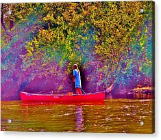 Man On River Acrylic Print by Hominy Valley Photography