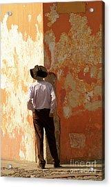 Acrylic Print featuring the photograph Man On The Corner Antigua Guatemala by John  Mitchell