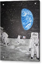 Acrylic Print featuring the painting Man On The Moon by Kathy Marrs Chandler