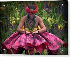 Man Performing Ancient Hula Acrylic Print