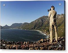 Man Photographing Hout Bay Acrylic Print by Sami Sarkis