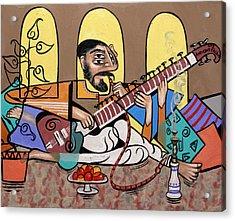 Man Playing A Sitar Acrylic Print