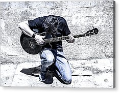 Man Playing Acoustic Guitar Kneeling Outside Acrylic Print