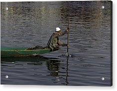 Man Plying A Wooden Boat On The Dal Lake Acrylic Print