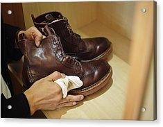 Man Polishing Leather Shoes Acrylic Print by Yagi Studio
