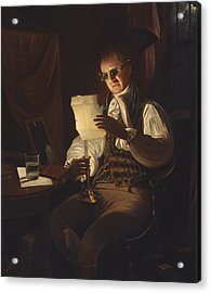 Man Reading By Candlelight Acrylic Print by Rembrandt Peale