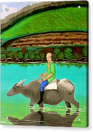 Man Riding A Carabao Acrylic Print