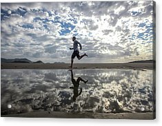 Man Running On Beach Acrylic Print by Paul Mansfield Photography