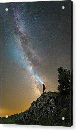 Man Shining A Flashlight On The Milky Acrylic Print by Yuri Zvezdny