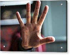 Man Showing Stop Gesture Acrylic Print by Erik Witsoe / EyeEm