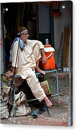Man Sits And Relaxes In Lahore Walled City Pakistan Acrylic Print