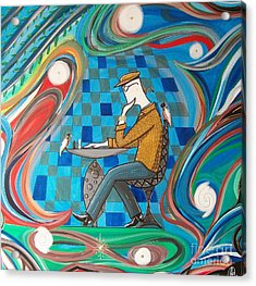 Man Sitting In Chair Contemplating Chess With A Bird Acrylic Print