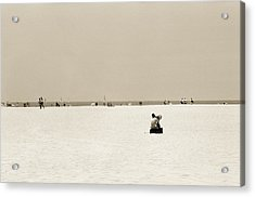 Man Sitting On A Beach Playing His Horn Acrylic Print by Stephen Spiller