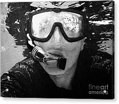 Man Snorkeling With Mask And Snorkel In Clear Water Dry Tortugas Florida Keys Usa Acrylic Print by Joe Fox