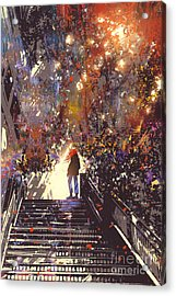 Man Standing On The Top Of Stair In The Acrylic Print