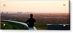 Man Sting On The Ledge In Baldwin Hills Acrylic Print by Panoramic Images