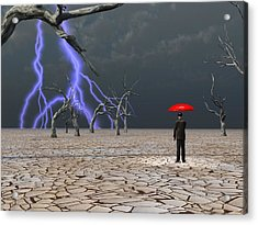 Acrylic Print featuring the digital art Man Takes In Storm Under Umbrella by Bruce Rolff