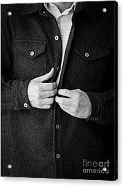 Man Unbuttoning His Shirt Acrylic Print by Edward Fielding