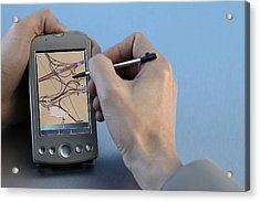 Man Using Gps System Acrylic Print by Comstock