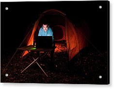 Man Using Laptop Outside A Tent Acrylic Print