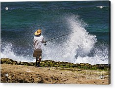 Man Versus The Sea Acrylic Print by Mike  Dawson