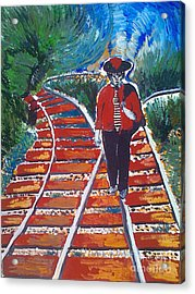 Man Walking On Rails Acrylic Print by Ivan Ivanov