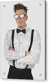 Man Wearing Sunglasses Suspenders And Acrylic Print by Stock Foundry